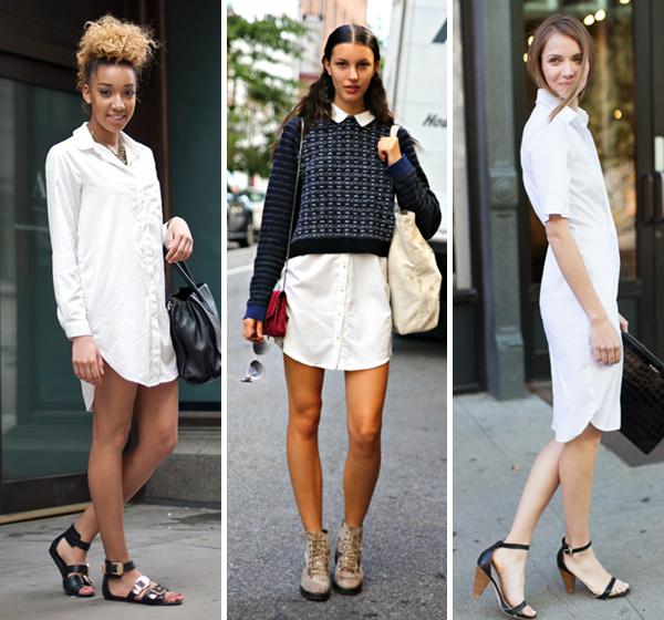 Платье рубашка белое с чем носить
